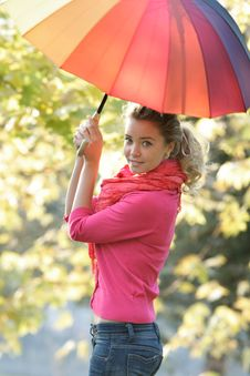 Free Girl With Colorful Umbrella On Natural Background Royalty Free Stock Photography - 17045817