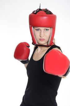 Free Female Boxer Over White Royalty Free Stock Image - 17045826