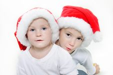 Free Two Santa Helpers Over White Stock Photography - 17045872