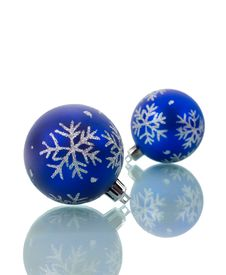 Christmas Decorations With Reflection Stock Images
