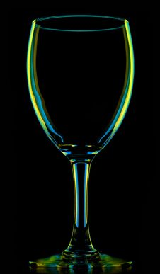 Free Transparent Colored Empty Wine Glass On Black Stock Photography - 17046352