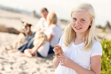 Adorable Little Blonde Girl With Starfish Stock Photos