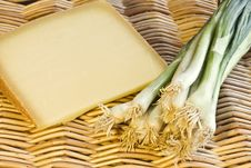 Spring Onions And Cheese Royalty Free Stock Photos