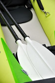 Oars Of Rubber Boat Stock Photo