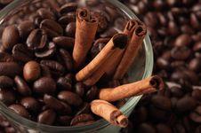 Cinnamon Rolls In Coffee Beans Stock Photo