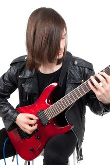 Free Rocker Playing Guitar Royalty Free Stock Image - 17047266