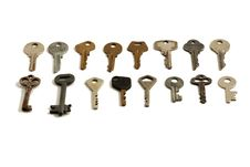 Free Lots Of Old Keys On White Background Royalty Free Stock Photography - 17049977