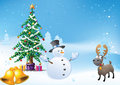 Free Snowman And Christmas Tree Royalty Free Stock Image - 17050866