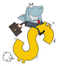 Free Business Shark Businessman Riding On A Dollar Royalty Free Stock Photography - 17058737