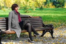 Free Girl In The Park On A Bench Royalty Free Stock Images - 17050939