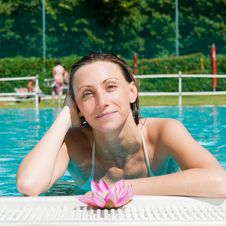 Beautiful Young Woman At Pool Royalty Free Stock Photo