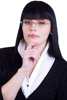 Free Pretty Business Woman With Glasses On White Stock Photography - 17053232