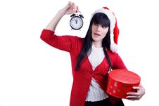 Free Christmas Girl With Gift And  Alarm Clock On White Royalty Free Stock Photo - 17053455