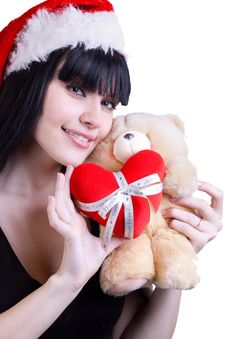Free Christmas Girl With Teddy Bear On White Stock Image - 17053501