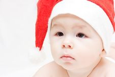 Free Newborn Baby In Santa Claus Hat Stock Photo - 17053910