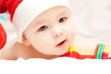 Free Newborn Baby In Santa Claus Hat Stock Image - 17053951