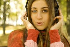 Free Girl With Headphones Fall Royalty Free Stock Images - 17054179