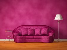 Free Purple Couch With Table And Standard Lamp Stock Photo - 17054190
