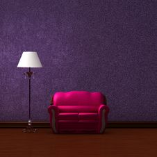 Free Pink Couch And Standard Lamp Royalty Free Stock Photo - 17054605