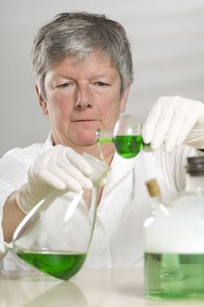 Free Scientist Is Working With A Green Liquid Stock Image - 17054821