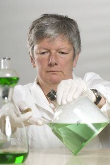 Free Scientist Is Working With A Green Liquid Stock Photography - 17054852
