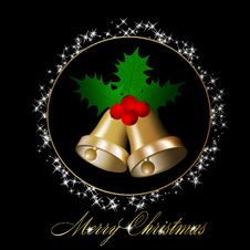 Christmas Bells With Holly Berries Royalty Free Stock Photos
