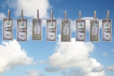 Dollar Bills Hanging On Clothes Line Royalty Free Stock Photo
