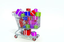 Free Shopping Kart Filled With Presents Stock Images - 17055094