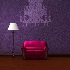 Free Pink Couch And Lamp With Silhouette Of Chandelier Royalty Free Stock Photos - 17055128
