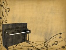 Free Piano On Vintage Background Royalty Free Stock Image - 17055136