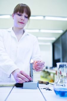 Female Researcher Lighting Up A Burner Royalty Free Stock Images