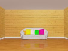 Mosaic Room Interior With White Couch Stock Photos