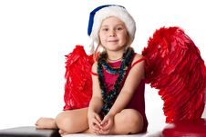 Free Beautiful Girl In Santa Sblue Hat Royalty Free Stock Images - 17055799