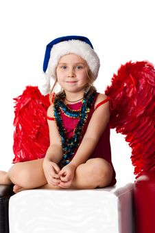 Free Beautiful Girl In Santa Sblue Hat Royalty Free Stock Photo - 17055865
