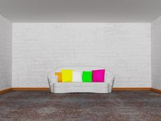 Free Room With White Couch With Colored Cushion Royalty Free Stock Photos - 17056088