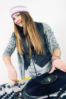 Free Female DJ Scratching The Record Stock Image - 17056381