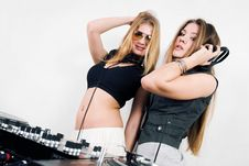 Free Two Female DJs At The Turntables Stock Image - 17056391