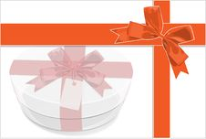 Free A Card Be Painted White Gift Box With Red Bow Stock Image - 17056401