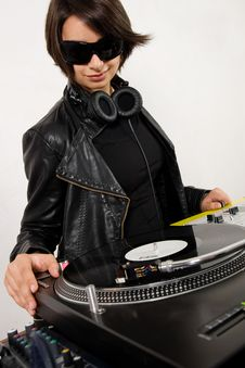 Free Female DJ At The Turntables Stock Images - 17056494