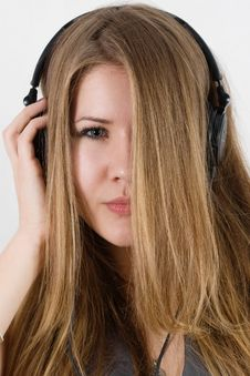 Free Young Pretty Girl In Headphones Stock Image - 17056791