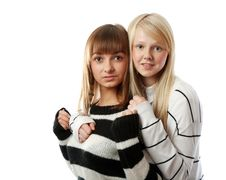 Free Portrait Two Girls Of The Blonde And Brunettes Royalty Free Stock Images - 17057499
