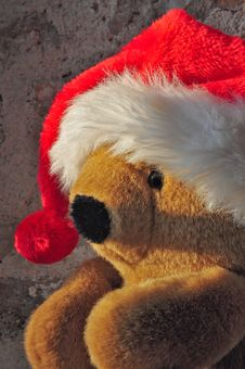 Free Teddy Bear With A Christmas Hat Royalty Free Stock Images - 17057709