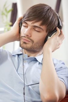 Free Man Listening Music Stock Image - 17058401