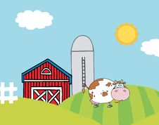 Free Lone Cow On A Hill Near A Silo And Barn Royalty Free Stock Image - 17058526