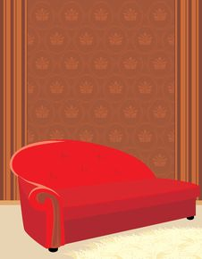 Free Red Sofa And Shaggy Carpet Royalty Free Stock Photos - 17058678