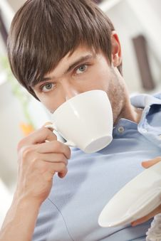 Free Man Drinking Tea At Home Stock Photography - 17058682