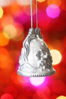 Free Christmas Bell With Silver Pattern Royalty Free Stock Images - 17058699