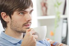 Free Man Drinking Tea And Watching Television Stock Photo - 17058700