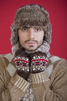 Free Man In Fur Hat And Sweater Stock Images - 17059084