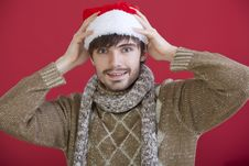 Free Happy Man With Santa Hat Stock Photo - 17059150